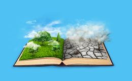 Bipolarity. On one side, nature, on another smog and a drought. An open book. Bipolarity. On one side, nature, on another smog and a drought Stock Images
