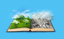 Bipolarity På en sida, natur på en annan smog och en torka Arkivbilder