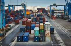 Birżebbuġa / Malta - May 25 2019: Cargo freight containers at the Freeport transhipment hub trade port royalty free stock photography