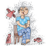 一个亲切的人的例证坐椅子和哺养的bir 免版税图库摄影