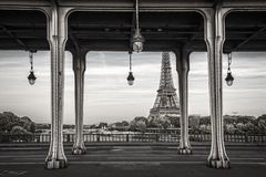 Bir Hakeim bridge, Eiffel tower in the background, Paris France. Bir Hakeim bridge, Eiffel tower in the background in Paris France royalty free stock photo