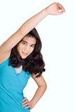 Biracial nastoletnia dziewczyna robi rozciągliwość, ćwiczy Fotografia Royalty Free