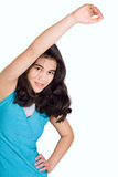 Biracial teenage girl doing stretches,exercising Royalty Free Stock Photography