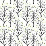 Birch or aspen brown trees in spring with small green leaves on white seamless pattern, vector vector illustration
