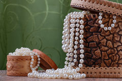 Birch bark boxes with pearl beads Royalty Free Stock Image