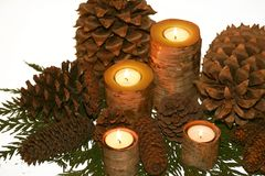 Birch bark candlescape. Birch bark candles, pinecones, cedar greens as tablescape, centerpiece, mantel decoration for organic country look or holidays Royalty Free Stock Image
