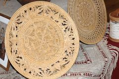 Birch bark carved plates for bread. royalty free stock photo