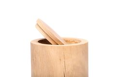 Birch bark container with open top close-up Royalty Free Stock Images
