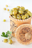 Birch bark container with yellow gooseberry Royalty Free Stock Photos