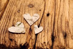 Birch bark hearts Royalty Free Stock Image