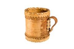 Birch bark mug. Isolated on the white background Stock Images