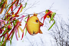 Birch branch with typical Easter decorations Stock Photo