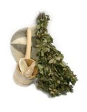 Birch broom. With subjects of russian bath on white background Royalty Free Stock Images