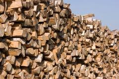 Birch firewood. Close up to pile of birch firewood Stock Photos