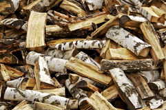 Birch firewood. Split birch firewood, can be used as background Royalty Free Stock Image