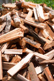Birch firewood. Heap of birch firewood lying on the ground Stock Images