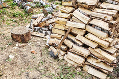 Birch firewood and axe Royalty Free Stock Images