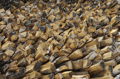 Birch firewood stacked in a woodpile to heat house Royalty Free Stock Image