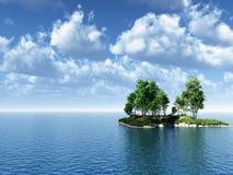 Birch_Isla_CS. Small green island with birch  trees - 3d illustration Royalty Free Stock Photography