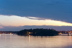 Birch Island in Steamboat Bay at Dusk Stock Image