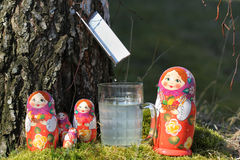 Birch juice and nested dolls Royalty Free Stock Images