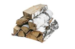 Birch tree log isolated. Birch log isolated on white background. Firewood stock photography