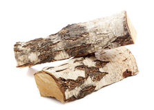 Birch log wood isolated Stock Photo
