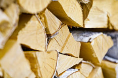 Birch logs in woodpile Stock Photos