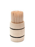 Birch of the toothpick in wooden cask Royalty Free Stock Photo