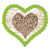 Birch tree heart with frame of linden leafs Royalty Free Stock Image