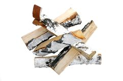 Birch tree log isolated. Birch log isolated on white background. Firewood royalty free stock photography