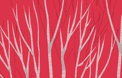 Birch abstract 3 red image make new imaginary landscape vector illustration