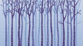 Birch tree wood silhouette on blue background stock illustration