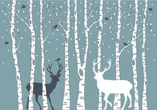 Birch trees with deer, vector background Stock Photo