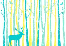 Birch trees forest with reindeer, vector stock illustration