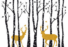 Birch trees with gold Christmas reindeer, vector. Christmas card with golden reindeer in birch trees forest on white backround, vector illustration Royalty Free Stock Photography