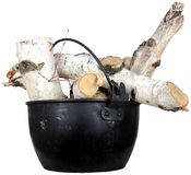 Birch wood in a metal pot Stock Photography