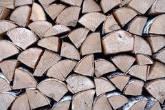 Birch wood in the woodpile. Folded wood texture in a climb or wall birch wood in the woodpile stock photography
