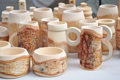 Birchen mugs and cups Royalty Free Stock Photos