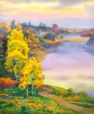 Birches near lake stock illustration