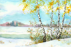 Birches in snowy field. Watercolor landscape. Yellowing of birch and wild rose in the snow-covered field near the river Stock Photos