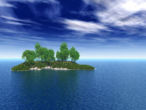 Birchs. Birch trees on small lake island - 3d illustration Royalty Free Stock Photos