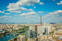 Bird's eye view of Paris. Summer day stock photos