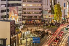 Bird's view of the Japanese youth culture fashion's district crossing intersection of Harajuku Laforet named champs-élysées. In Tokyo, Japan stock images