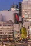 Bird's view of the Japanese youth culture fashion's district crossing intersection of Harajuku Laforet named champs-élysées. In Tokyo, Japan royalty free stock photo