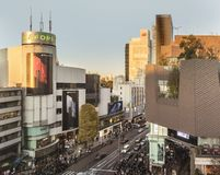 Bird's view of the Japanese youth culture fashion's district crossing intersection of Harajuku Laforet named champs-élysées. In Tokyo, Japan royalty free stock image