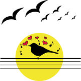 Bird. Dreams and sings about love Royalty Free Stock Photos