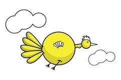 Bird. Fat yellow bird flying between two clouds Vector Illustration