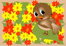 Bird. In yellow and red flowers illustration vector illustration