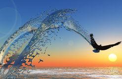 The bird above the sea. Royalty Free Stock Photos